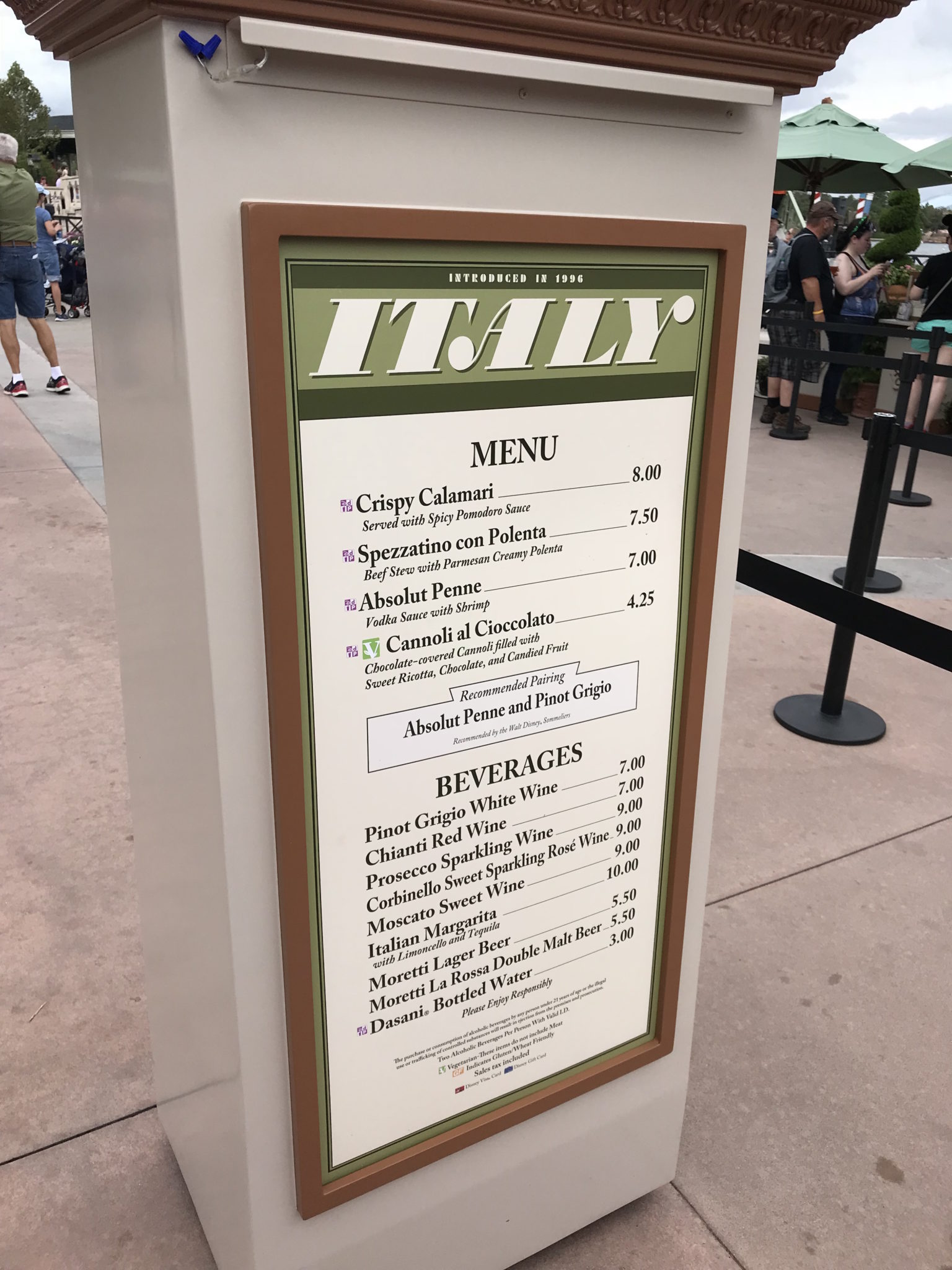 Italy Booth Menu Epcot Food & Wine 2017